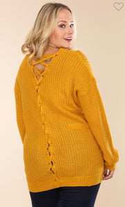 Mustard Lace-up Sweater
