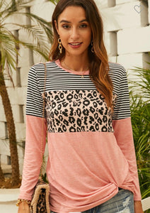 Leopard Color-block Long Sleeve