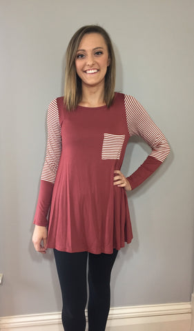 Striped Pocket Tunic ~Multiple Colors~