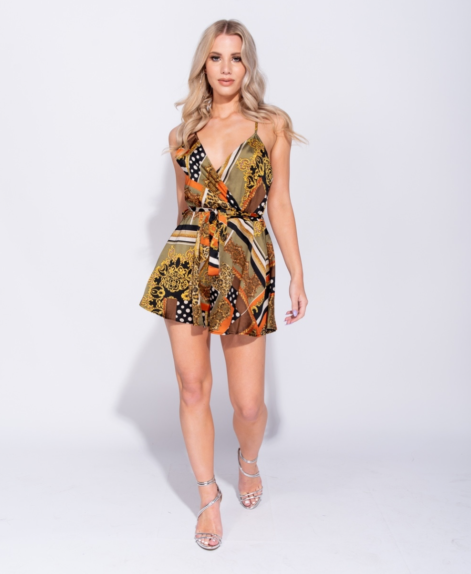 Baroque Print Wrap-Over Playsuit (4339550978136)