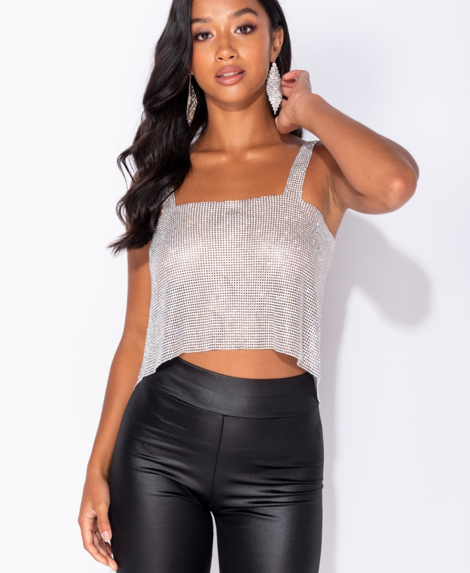 Diamante Open Back Crop Top - SILVER (4339592495192)