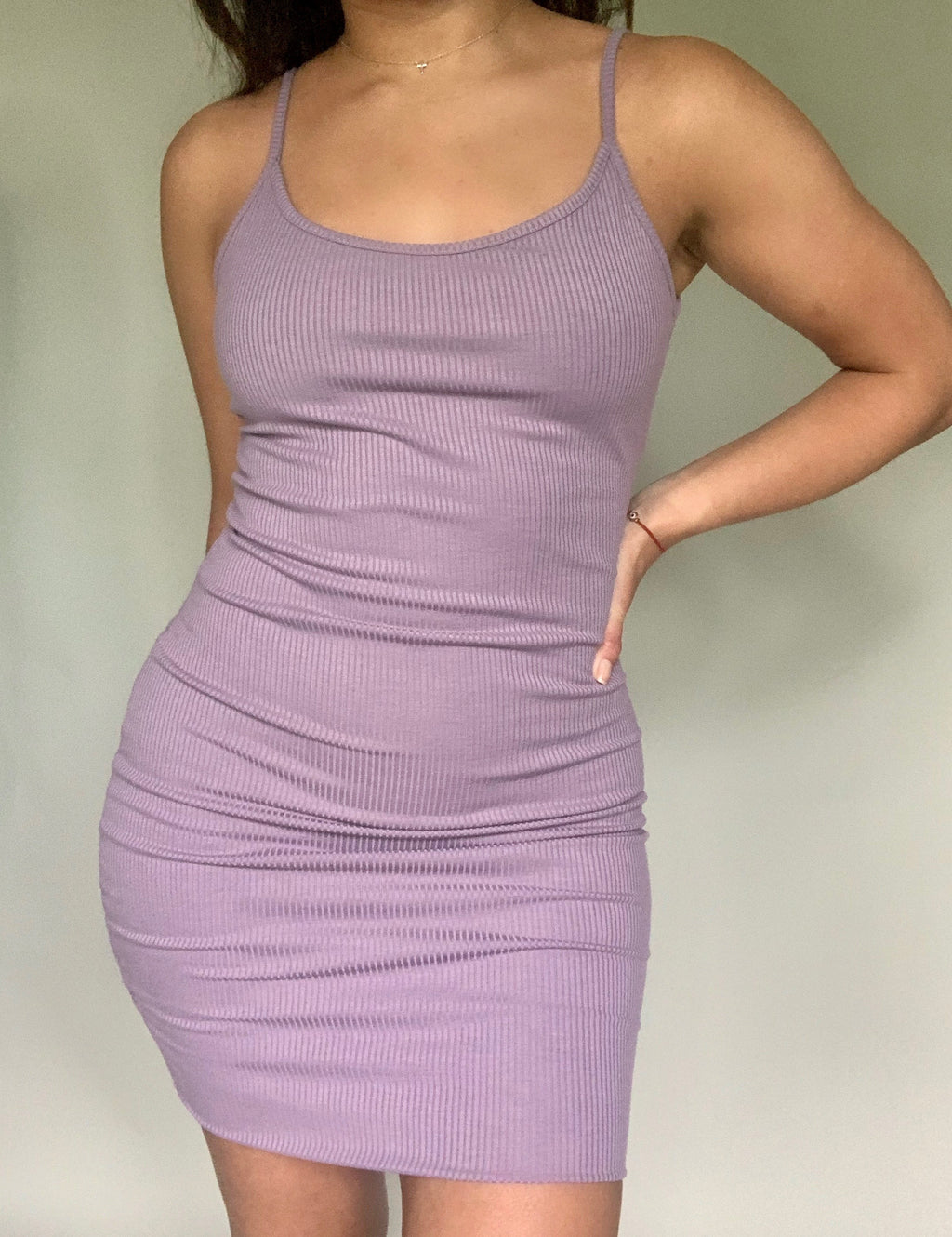 Staying In Ribbed Mini Dress - Lilac