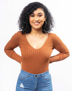 Ribbed Sleeved Bodysuit - Rust (2744189354084)