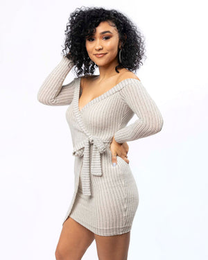 Off Shoulder Knitted Wrap Dress (2743717789796)