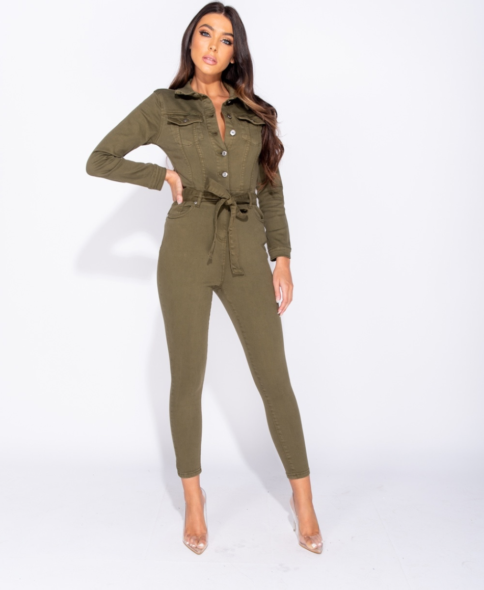 Button Up Tie Waist Jumpsuit - ARMY GREEN (4339560054872)