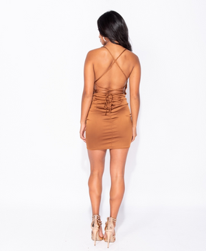 Satin Cowl Neck Tie Back Body Con Mini Dress - BROWN (4339487178840)
