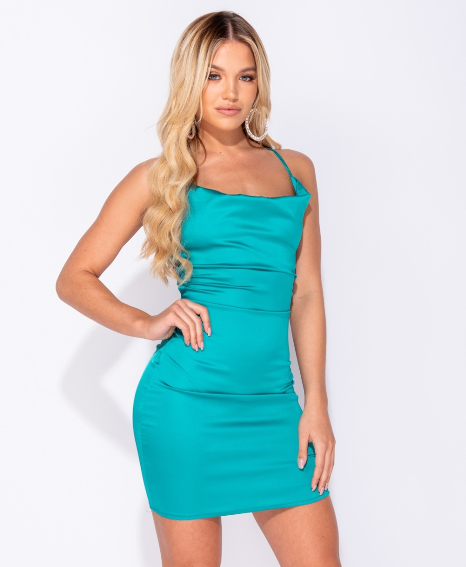 Satin Cowl Neck Tie Back Body Con Mini Dress - JADE GREEN (4339513753688)