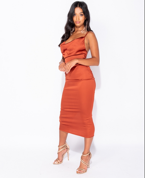 Satin Cowl Neck Tie Up Back Body-Con Midi Dress - RUST (4339485343832)