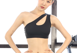 One Shoulder Hollow Out Sports Bra