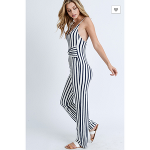 Striped Sleeveless V Neck Belted Jumpsuit (3586088140900)