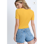 Front Self Tie Textured Crop Top (3586098331748)