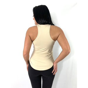 Khaki Racer Back Tank Top (4286987567204)