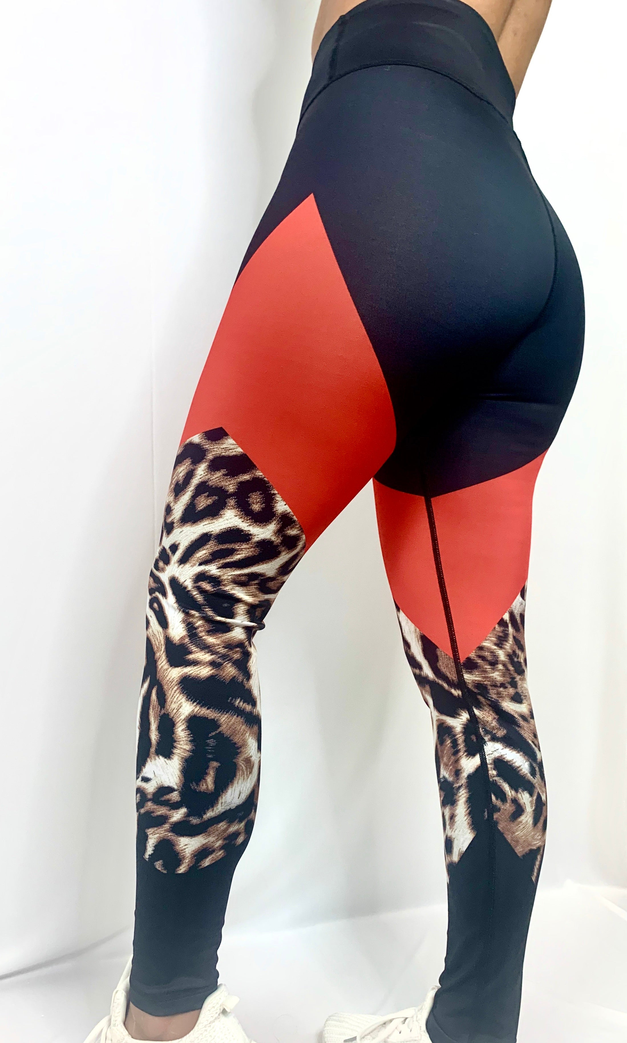 Color Block Cheetah Print Leggings (4339440418904)