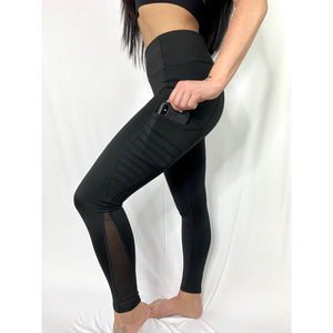 High Waist Mesh Leggings with Moto Pockets (4287268749412)
