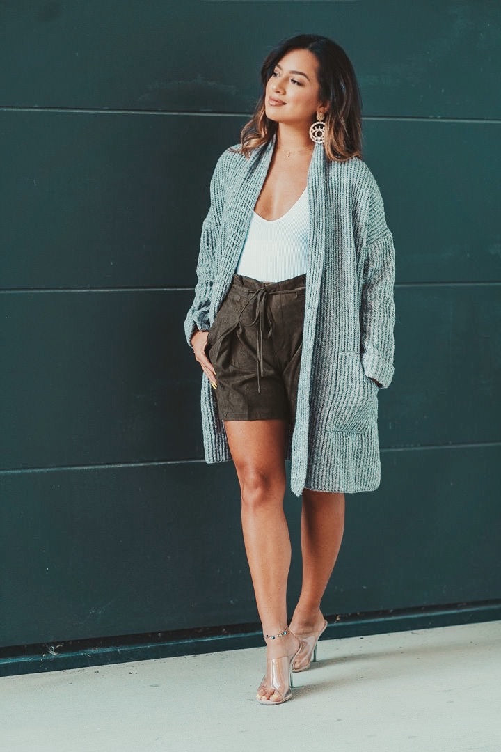 Gray Oversized Cardigan