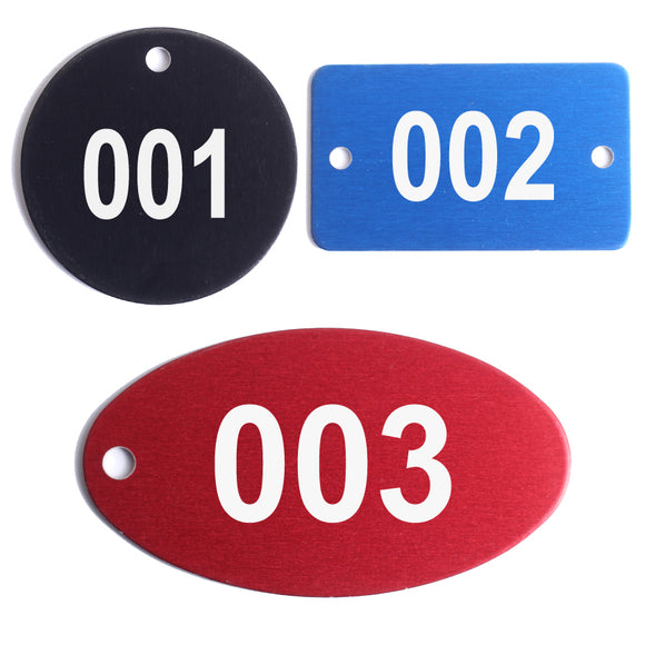 Metal Number Tags - Anodized Aluminum