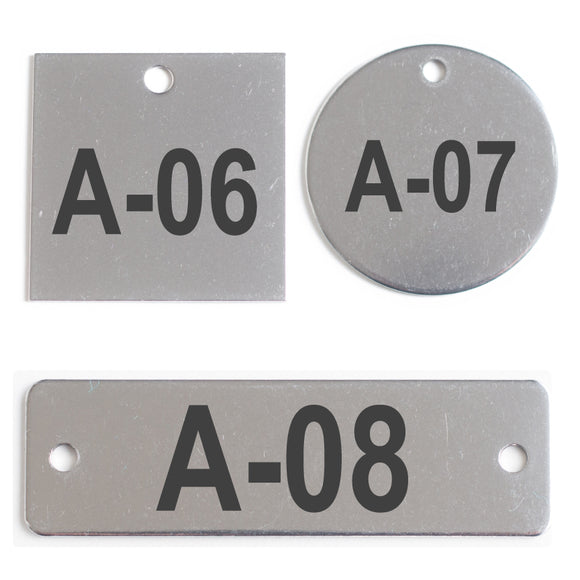 Metal Number Tags - Stainless Steel