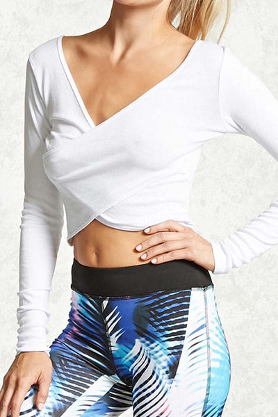 Long Sleeve Crossover Yoga Crop