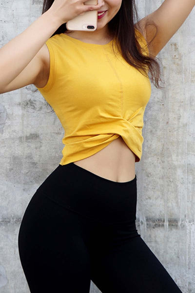 Twisted Hem Cropped Yoga Top