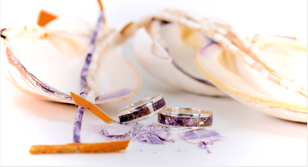 Celebrate Valentine's 2020 with this Wampum & Gold Wedding Ring Set