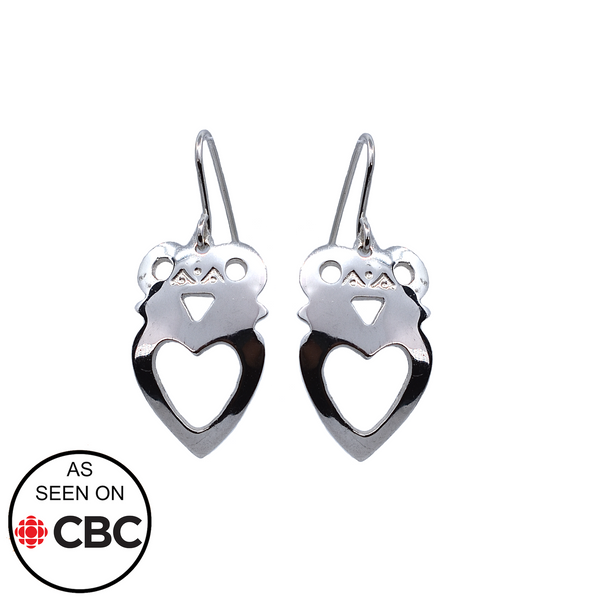 Crowned-Heart silver earrings