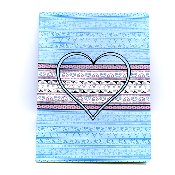 Te's Heart design is featured on a notebook made in Canada