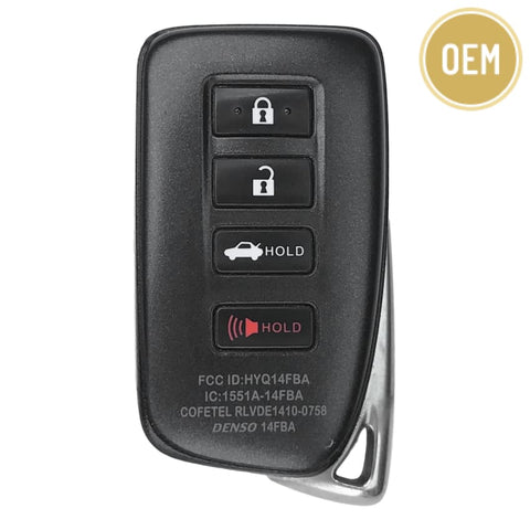 Lexus 4 Button Smart Key 2014-2019 FCC: HYQ14FBA AG Board 2020 (OEM)