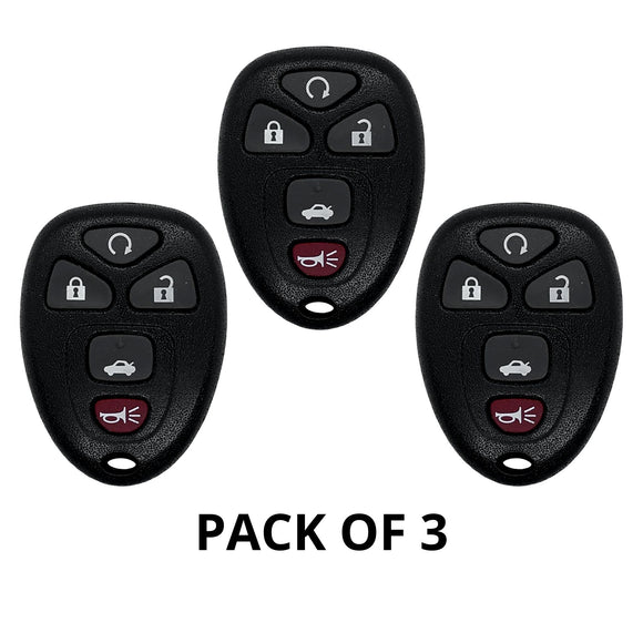 GM 5 Button Keyless Entry Remote 2004-2012 KOBGT04A (3 Pack)