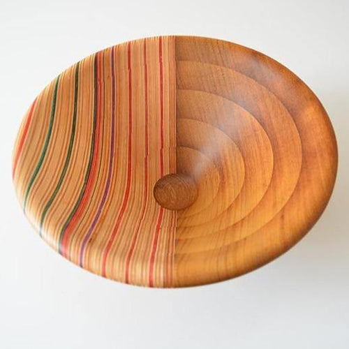 Laminated bowl made from iroko and upcycled skateboards