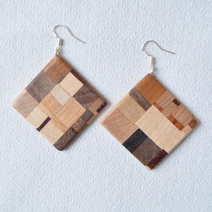 Laminated earrings - Mix of natural woods