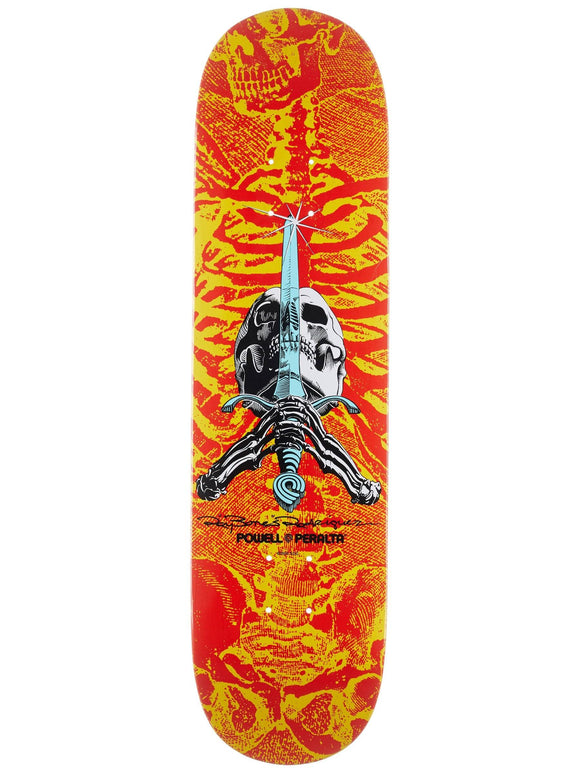 Powell Peralta Skull And Sword Deck - Red & Yellow 8.0