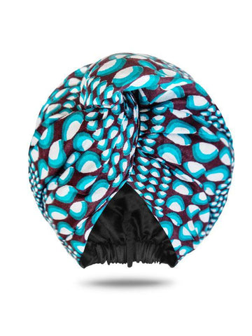 Loza Tam Moremi Dutch Wax Satin Lined Turban - Product Junkie DC