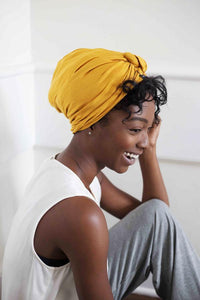Grace Eleyae Mustard Satin-Lined Knot Turban - Product Junkie DC
