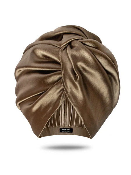 Loza Tam Champagne Satin Turban Head Wrap - Product Junkie DC