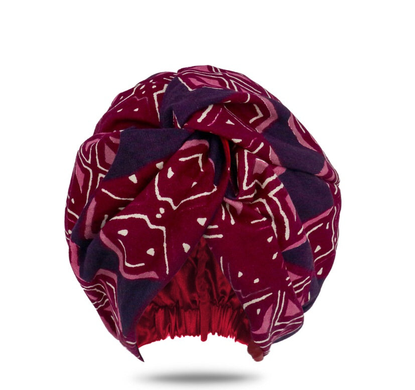 Lozatam Turban Head Wrap Purple African Print