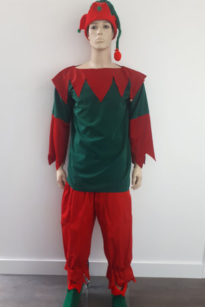 COSTUME RENTAL - R1017 Elf deluxe (red and Green) Small..5 pc - .shirt, pants, hat, 2 shoes 5pieces r1017