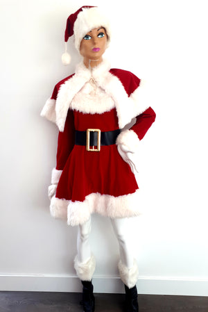 COSTUME RENTAL - r1033 Miss Santa Deluxe 8 pieces - dress, cape, 2 bootops, hat, belt, 2 gloves