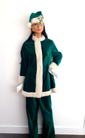 COSTUME RENTAL - r1021 Green Santa 3 pieces pants and jacket and hat