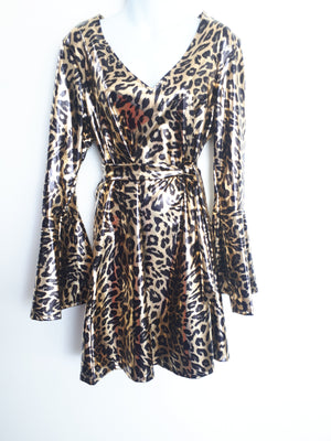 COSTUME RENTAL - X206 Leopard Disco Diva Dress Large