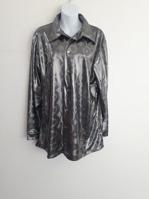 COSTUME RENTAL - X1 Disco Shirt, Silver Hologram Large