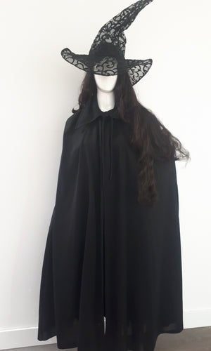 COSTUME RENTAL - P23 WITCH BLACK SATIN ROBE