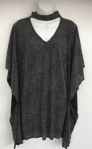COSTUME RENTAL - X252 1970's Silver and Black Glitter Blouse