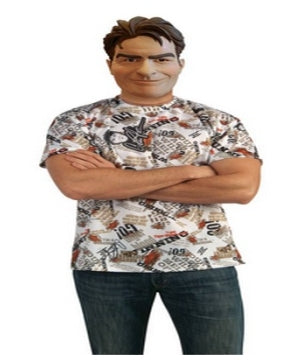 ADULT COSTUME: Charlie Sheen Mask and Shirt