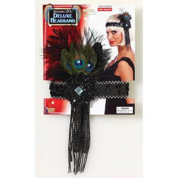 ACCESS: 1920's Flapper Headband black w/peacock feather