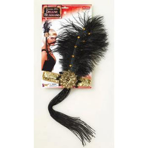 Roaring 20's flapper Headband silver w/peacock feather