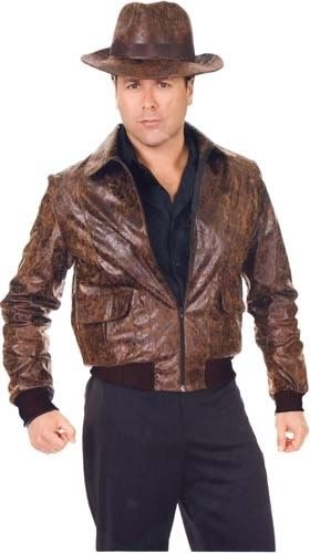 ADULT COSTUME: Brown Leather Jacket