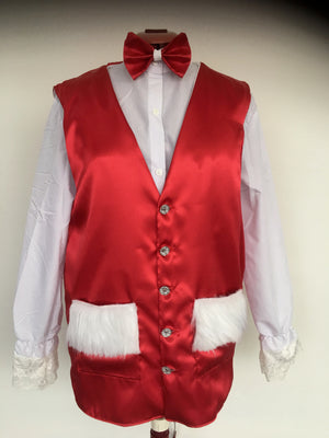COSTUME RENTAL - r1019 Santa / Christmas Vest and bowtie
