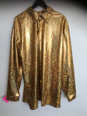 COSTUME RENTAL - X10 Disco Shirt, Gold Holographic