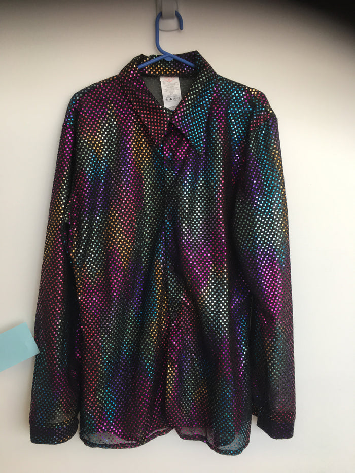 COSTUME RENTAL - X40 Disco Shirt, Sequin Rainbow