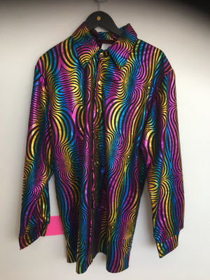 COSTUME RENTAL - J439 Disco Rainbow Shirt